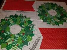 Vintage Cotton Cut Sew Panel Christmas Holiday Stuffed Faux Patchwork Wreath