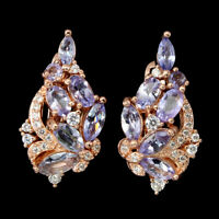 Unheated Oval Tanzanite 6x3mm Cz Rose Gold Plate 925 Sterling Silver Earrings