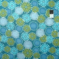 Zandra Rhodes Feathered PWZR014 Kaleidoscope Teal Cotton Fabric By Yd