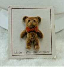 on Card Stock 1940's West Germany 1940s Teddy Bear Brown Flocked Pin Vintage Nos