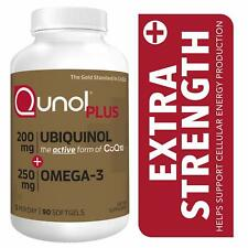 Qunol Plus Ubiquinol CoQ10 200 mg + Omega 3 Fish Oil Extra Strength 90 Softgels