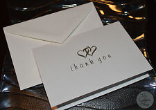 Silver Hearts Wedding White Thank You Cards and Envelopes Set of 25