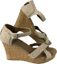 Toms Womens Classic Cork Wedge Natural Woven Diamond Open Toe Strappy Sz 9