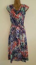 NEW M&Co 8-20 Spot Print Cowl Neck Chiffon Skater Dress Blue White Purple Summer