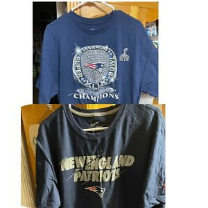 Lot of 2 New England Patriots T Shirts Size XXL 2XL Super Bowl XLIX Champion EUC