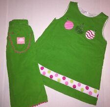LN Boutique Petite Soeur Christmas Ornament Dress & Pant Set 2 2T Ric Rac TDF!