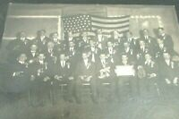 1910 Antique Group Photo IOOF Odd Fellows FOE Fraternal Order Eagles Pipes Beer