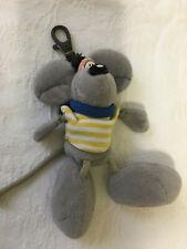 vintage années 2000 diddl peluche porte-clés gris polo rayé jaune & blanc H16 cm