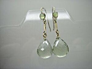 9ct Gold Hook Green Flourite & Peridot Briolette Long Drop Earrings
