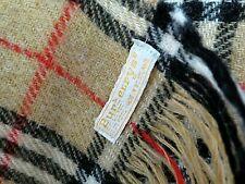 Vintage BURBERRYS Scarf Wool Tartan Plaid Scotland Twill Tan Red Black