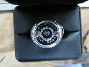 Harley Davidson .925 Silver Black Onyx Inlayed Derby Cover Signet Ring HDR0309