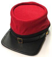 CIVIL WAR CSA CONFEDERATE ARTILLERY RED WOOL KEPI FORAGE CAP HAT-2XLARGE