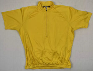 bellwether usa made men's solid yellow 1/2 zip cycling jersey sz large used