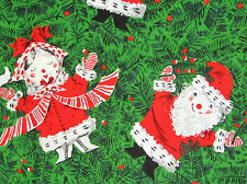 1950's VTG CHRISTMAS FABRIC SANTA & MRS CLAUS by Spring Mills Cotton New BTY