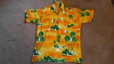Vintage orange polyester Hawaiian shirt, size L, 1980s Notting Hill Carnival