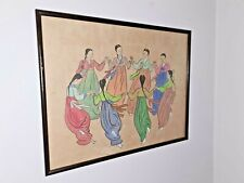 ANTIQUE CHINESE  PAINTING ON RICE PAPER OF CHINESE MAIDENS DANCING / SINGAPORE