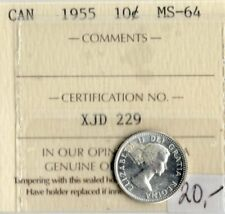 Canada 1955 10 Cents ICCS Certified MS-64  XJD 229