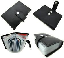 Unisex Quality Black Real Leather Debit/credit Card Holder Wallet Rfid Blocking