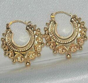 9ct Gold Victorian Design Spiked Ladies Creole Hoop Earrings -