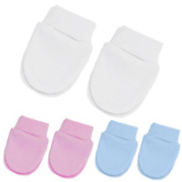 Baby Scratch Mittens, Mitts for Newborn Girls & Boys, Mits in White, Pink & Blue