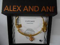 Alex and Ani CUPCAKE II Bangle Bracelet Shiny Gold New Tag Box Card