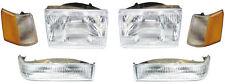 97-98 Grand Cherokee Headlights & Parking Corner Lights Left & Right Pair Set