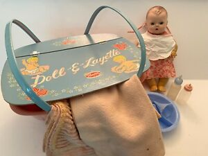 Amsco Doll-E-Layette Baby Doll Basket and American Character Tiny Tears Dolls