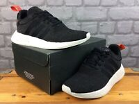 ADIDAS MENS UK 7.5 EU 41 1/3 NMD R2 TRAINERS BLACK WHITE ORANGE RRP £70 C