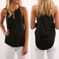UK Womens Plain Sleeveless Blouse Ladies Stretch Strappy Camisole Vest Tank Tops