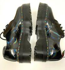 DR MARTENS 1461 Quad Black Rainbow Patent Leather Platform Shoes Size 8 New