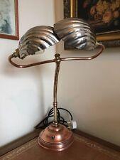 Vintage 1920's Art Deco Twin Scallop brass & Copper desk lamp Restored P.AT.Test