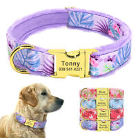Soft Plush Padded Personalised Dog Collars Nylon Puppy Pet Name ID Engaved S M L