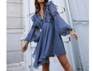 Shona Joy Charcoal Ruffle Chiffon Sheer Long Sleeve Mini Dress New Tags