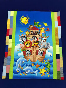 Handmade Quilted Cotton Cot Topper Playmat Quilt Baby Noahs Ark Animals Boat