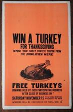 1950-60s Win a Turkey for Thanksgiving Crawfordsville,Indiana Newspaper poster!