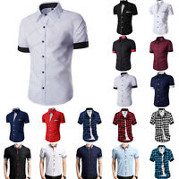 Men Business Formal Dress Shirt Short Sleeve Summer Casual Slim Fit Tops Blouse