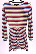 House Of Harlow Revolve Women Dress Rainbow Stripe Long Sleeve Buttons Soft S