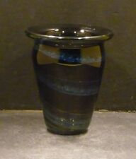 Studio Glass Blue and Black Vase, Artist Signed, Fred Warren  - MINT