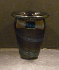 Studio Glass Blue and Black Vase, Artist Signed, Fred Warren  - MINT