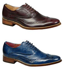 Mens Leather Lined Lace Up Brogue Shoes in Oxblood or Burnished Blue All Sizes