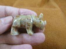 (Y-Rhi-17) tan Rhino rhinoceros Soapstone gemstone Stone Figurine I love rhinos