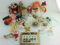Vintage LOT Christmas Ornaments incl Hand-Crafted Wood Metal Fabric Bells ++