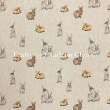 Fabric Digitally Printed Bunny Rabitts Linen Look Sold by the Metre