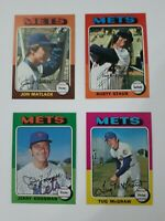 1975 Topps Baseball 4 Card Lot New York Mets.   Very Good to Excellent-NRMT.