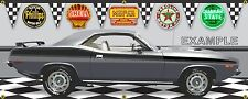 1973 PLYMOUTH CUDA MOPAR SILVER CAR GARAGE SCENE BANNER SIGN ART MURAL 2'X5'