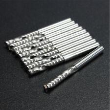 10pcs 3.175mm Shank Carbide Flat Nose End Mill Cutter Set CNC Flute Router Bits