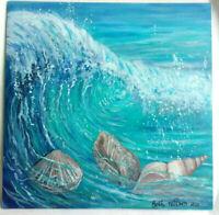 Original Acrylic Painting 12 x12 Canvas Seasid Ocean Wave Sea Shells Coastal Art