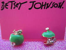 Betsey Johnson Green Apple Earrings