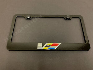 1x ATS/CTS-V(LOGO) 3D Emblem BLACK Stainless License Plate Frame RUST FREE+SCaps