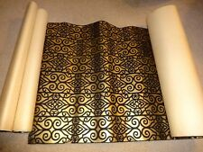 Vintage Gold and Black Flocked Wall Paper